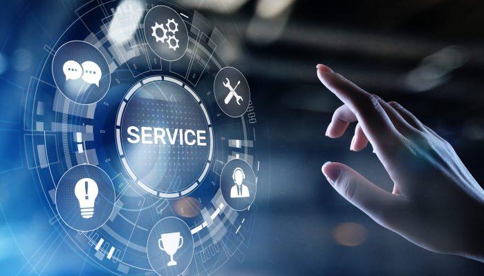 Service support customer help call center Business technology button on virtual screen